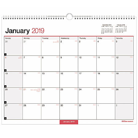"""Office Depot® Brand Monthly Wall Calendar, 15"""" x 12"""", White, January to December 2019"""