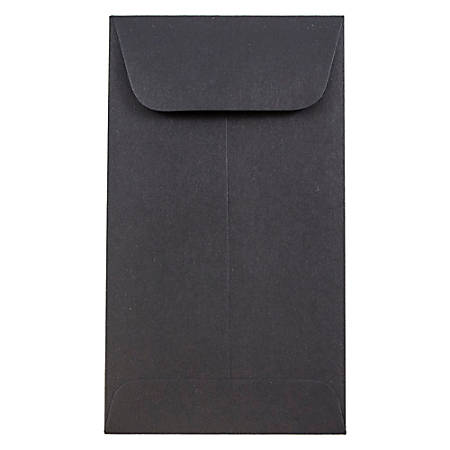 "JAM Paper® #6 Coin Envelopes, 3 3/8"" x 6"", Black, Pack Of 50 Envelopes"
