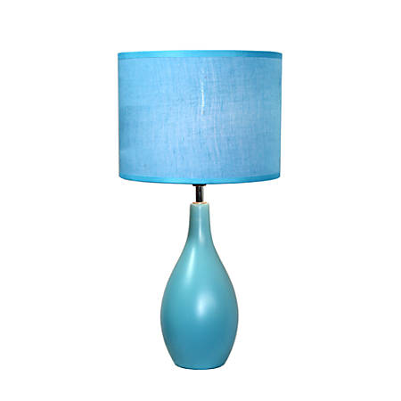 "Simple Designs Bowling Pin Base Table Lamp, 19""H, Blue Shade/Blue Base"