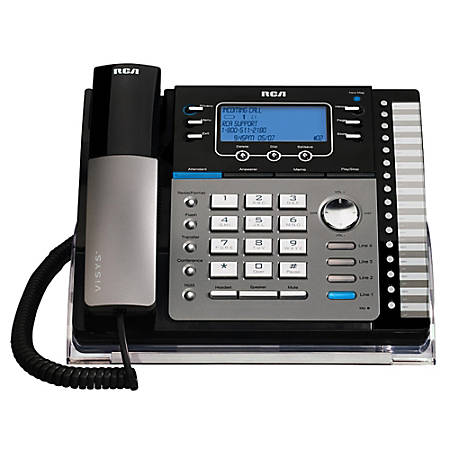 RCA 25425RE1 4-Line Corded Expandable Speakerphone With Digital Answering System, Black/Silver