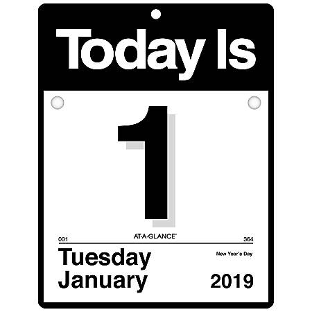 """AT-A-GLANCE® Today Is Daily Wall Calendar, 9 3/8"""" x 12"""", 30% Recycled, January to December 2019"""