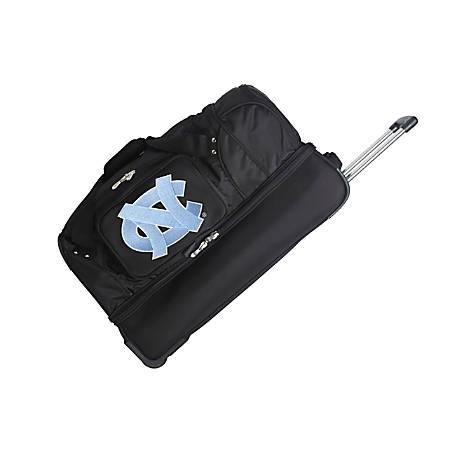 Denco Sports Luggage Rolling Drop-Bottom Duffel Bag, North Carolina Tar Heels, Black