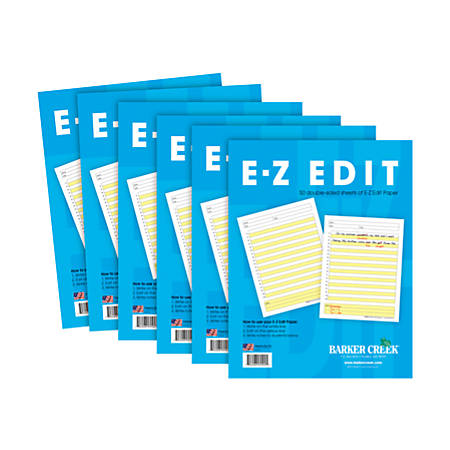 Barker Creek® E-Z Edit Paper Set, Grades 1-College, 50 Sheets, Pack Of 6