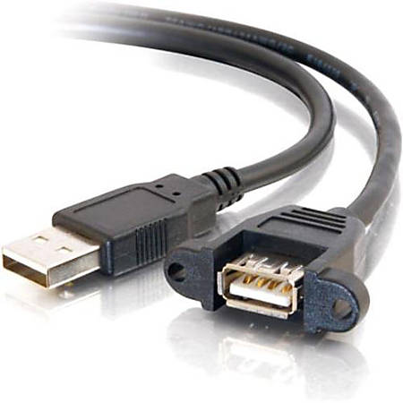 C2G 2ft Panel-Mount USB 2.0 A Male to A Female Cable