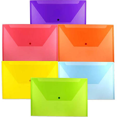 "JAM Paper® Plastic Legal Booklet Envelopes With Snap Closures, 9-3/4"" x 14-1/2"", Assorted Colors, Pack Of 6 Envelopes"