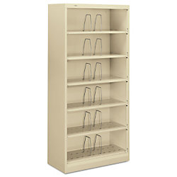 "HON® Brigade® 600 Series™ Shelf File, 6 Open Shelves, Legal Size, 75 7/8""H x 36""W x 16 3/4""D, Putty"