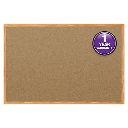"Quartet® Economy Corkboard, 24"" x 36"", Natural Cork Board, Oak Frame"