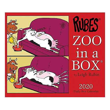 """Willow Creek Press Page-A-Day Daily Desk Calendar, Rubes Zoo In A Box, 5-1/2"""" x 6-1/4"""", January to December 2020, 09055"""