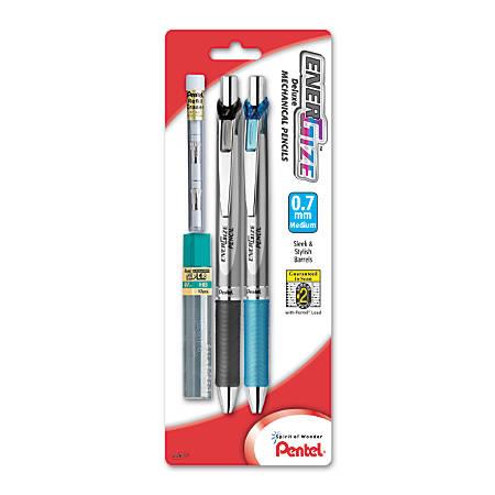 Pentel® EnerGize Mechanical Pencils, Starter Set, 0.7 mm, Silver Barrel, Pack Of 2