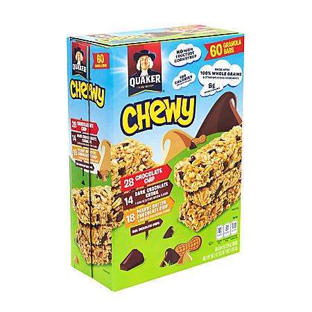 Quaker Chewy Granola Bars, 3 Lb, Box Of 60, Assorted