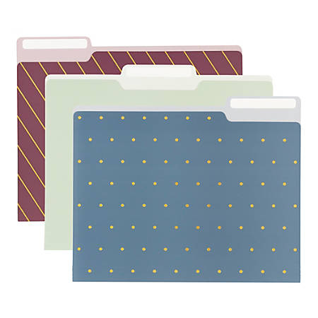Office Depot® Fashion Paper File Folders, Letter Size, Assorted Colors, Pack Of 6 Folders
