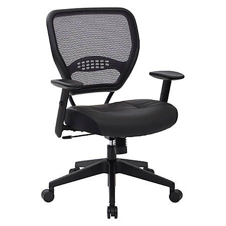 Office Star™ Space Seating® Bonded Leather Mid-Back Chair, Black/Black