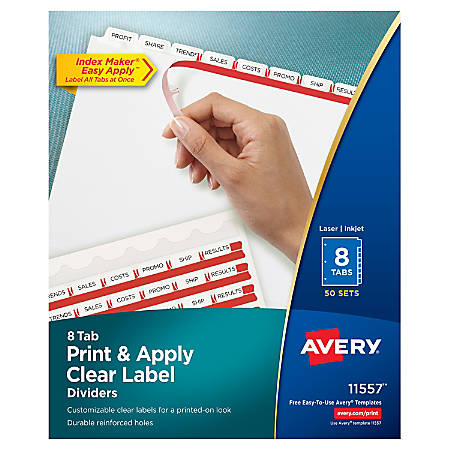 Avery® Print & Apply Clear Label Dividers With Index Maker® Easy Apply™ Printable Label Strip And White Tabs, 8-Tab, Box Of 50 Sets