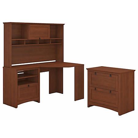 Bush Furniture Buena Vista Corner Desk With Hutch And Lateral File Cabinet, Serene Cherry, Standard Delivery