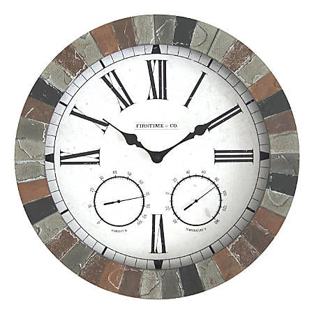 FirsTime & Co.® Garden Stone Outdoor Clock, Faux Slate