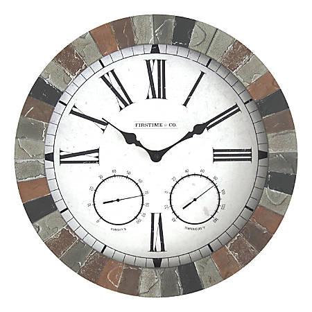 FirsTime & Co.® Garden Stone Outdoor Clock, Faux Slate