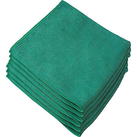"Genuine Joe General Purpose Microfiber Cloth - Cloth - 16"" Width x 16"" Length - 12 / Bag - Green"