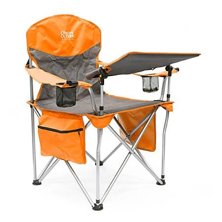 Creative Outdoor Folding iChair With Wine Holder, Gray/Orange