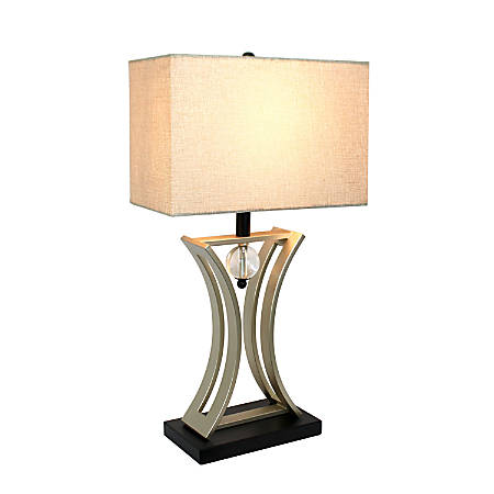"Elegant Designs Executive Business Table Lamp, 28 1/4""H, Beige Shade/Brushed Nickel Base"