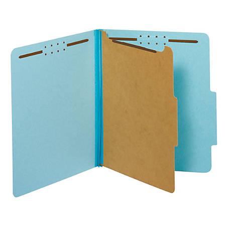 "Pendaflex® Pressboard Classification Folder, 1 3/4"" Expansion, Letter Size, 1 Divider, 60% Recycled, Blue"