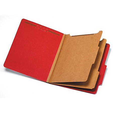 """Pendaflex® Pressboard Classification Folder, 2 1/2"""" Expansion, Letter Size, 2 Dividers, 60% Recycled, Red"""