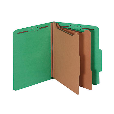 "Pendaflex® Pressboard Classification Folder, 2 1/2"" Expansion, Letter Size, 2 Dividers, 60% Recycled, Dark Green"