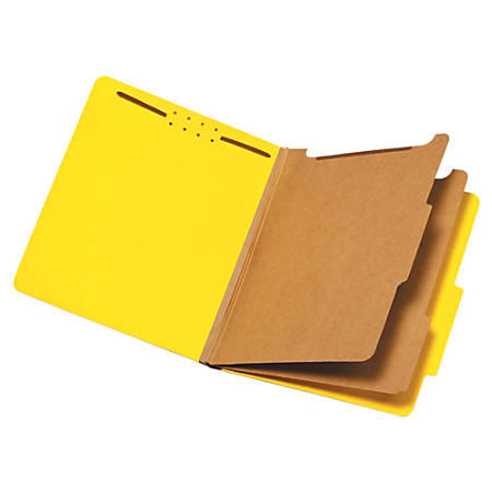 """Pendaflex® Pressboard Classification Folder, 2 1/2"""" Expansion, Letter Size, 2 Dividers, 60% Recycled, Yellow"""