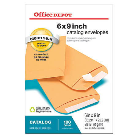 "Office Depot® Brand Clean Seal™ Catalog Envelopes, 6"" x 9"", Brown Kraft, Box Of 100"