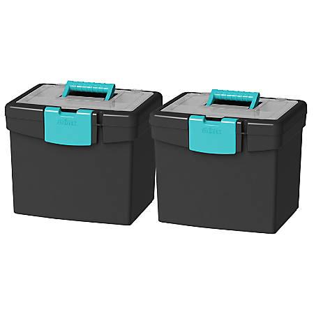 "Storex File Storage Boxes With XL Storage Lids, 10-7/8"" x 13-1/4"" x 11"", Black/Teal, Set Of 2 Boxes"