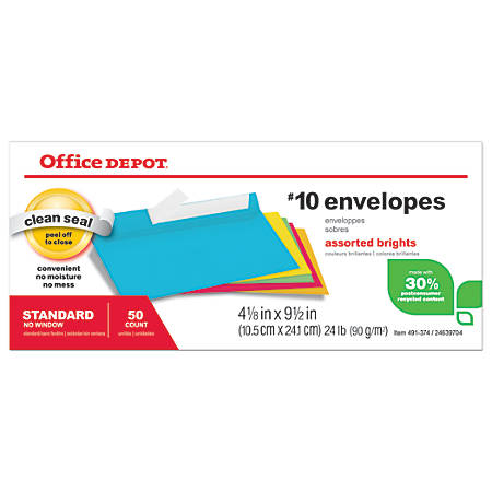 "Office Depot® Brand Brights Invitation Envelopes, 4 1/8"" x 9 1/2"", Assorted Colors, Box Of 50"