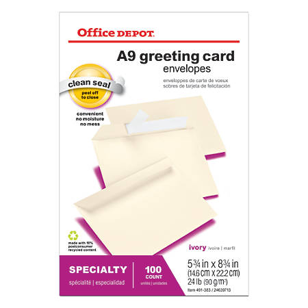 """Office Depot® Brand Greeting Card Envelopes, Clean Seal®, 5 3/4"""" x 8 3/4"""", Ivory, Box Of 100"""