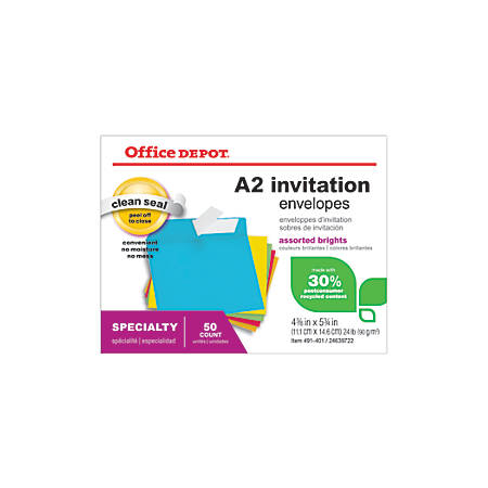 """Office Depot® Brand Brights Invitation Envelopes, 4 3/8"""" x 5 3/4"""", 30% Recycled, Assorted Colors, Box Of 50"""