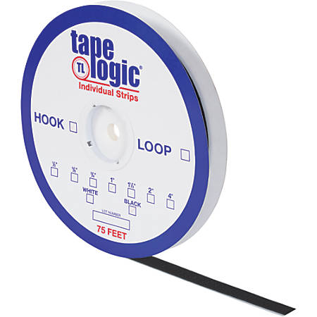 "Tape Logic® Individual Hook Tape Strip, 0.5"" x 75', Black"