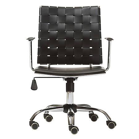 Baxton Studio Joleen Leather Mid-Back Office Chair, Black/Chrome
