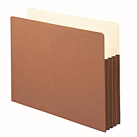 """Smead® Expanding File Pocket With Tyvek® Gusset, Letter Size, 3 1/2"""" Expansion, 9 1/2"""" x 11 3/4"""", 30% Recycled, Redrope"""
