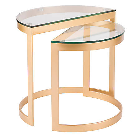 Lumisource Demi Contemporary Nesting Tables, Round, Glass Top/Gold, Set Of 2 Tables