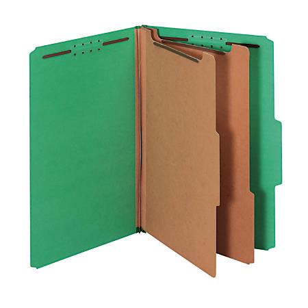 "Pendaflex® Pressboard Classification Folder, 2 1/2"" Expansion, Legal Size, 2 Dividers, 60% Recycled, Dark Green"
