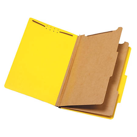 "Pendaflex® Pressboard Classification Folder, 2 1/2"" Expansion, Legal Size, 2 Dividers, 60% Recycled, Yellow"