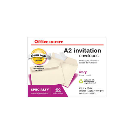"""Office Depot® Brand Clean Seal™ Invitation Envelopes, 4 3/8"""" x 5 3/4"""", Ivory, Box Of 100"""