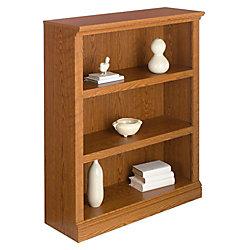 Realspace® Premium Bookcase, 3-Shelf, Carolina Oak