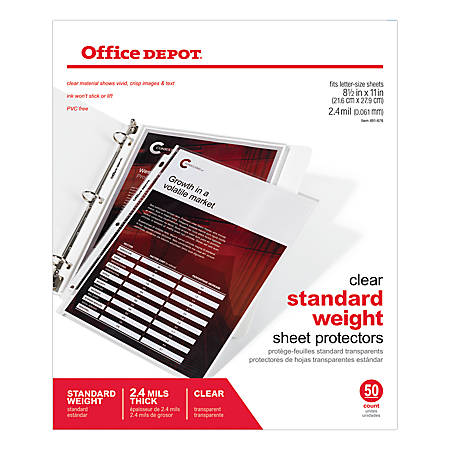 "Office Depot® Brand Standard Weight Sheet Protectors, 8 1/2"" x 11"", Clear, Pack Of 50"