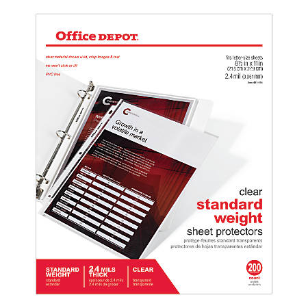 "Office Depot® Brand Standard Weight Sheet Protectors, 8 1/2"" x 11"", Clear, Pack Of 200"