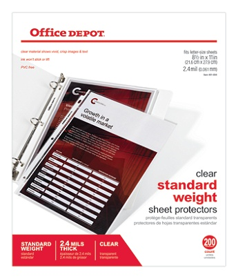office depot brand standard weight sheet protectors 8 12 x 11 clear