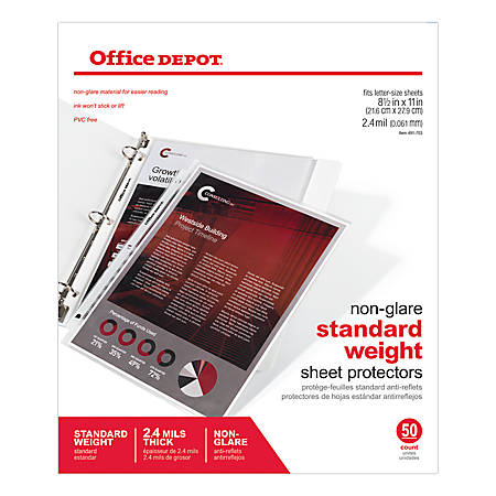 """Office Depot® Brand Non-Glare Standard Weight Sheet Protectors, 8 1/2"""" x 11"""", Box Of 50"""