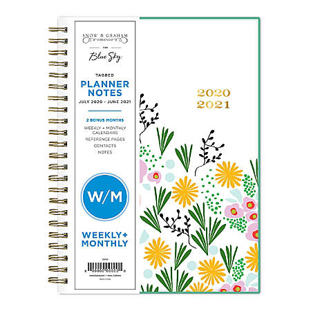 """Blue Sky™ Snow & Graham AY21 Weekly/Monthly Planner, 5-7/8"""" x 8-5/8"""", Multicolor, July 2020 To June 2021, 1209"""