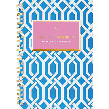 "Emily Ley Simplified® Trellis Weekly/Monthly Planner, 5-1/2"" x 8-1/2"", Blue/White, January To December 2020, EL305-200"