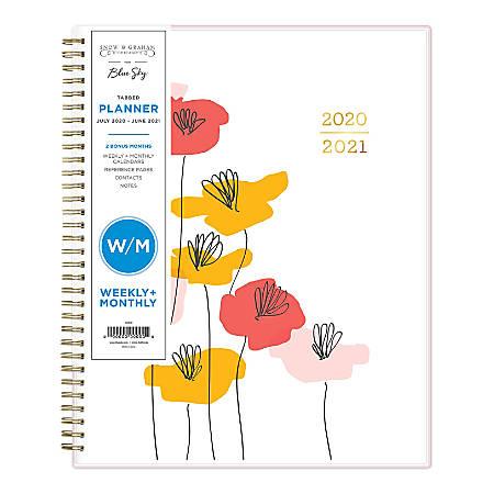 "Blue Sky™ Snow & Graham 14-Month Weekly/Monthly Tabbed Planner, 8-1/2"" x 11"", Red/Orange/Pink Flowers, July 2020 To June 2021, 1209"
