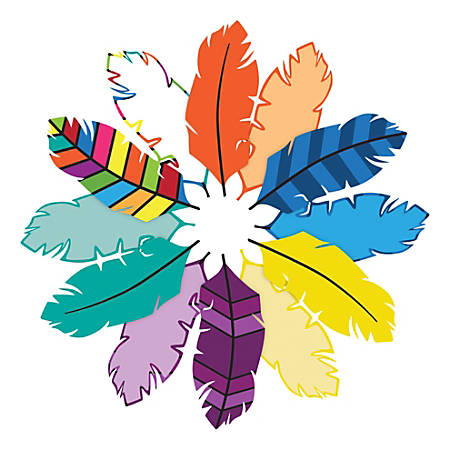 Barker Creek Accents, Double-Sided, Bohemian Feathers, Pack Of 72