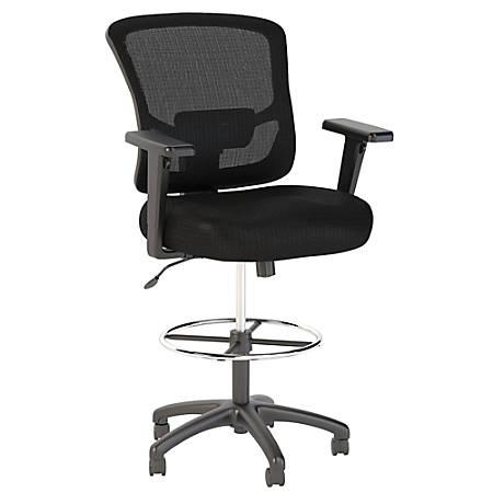 Bush Business Furniture Custom Comfort Mesh Back Drafting Chair with Chrome Foot Ring, Black, Premium Installation
