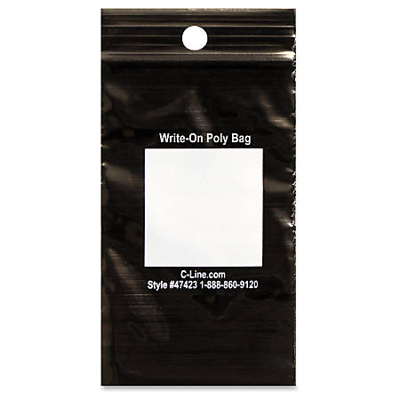 "C-Line Write-On Reclosable Poly Bags For Tools, 2""W x 3""L, Black, Box Of 1,000"